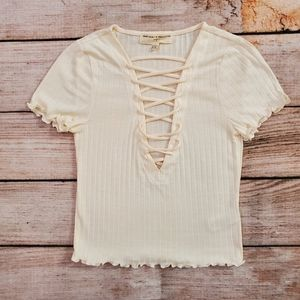 Urban Outfitters Cream Lace Up Project Social Tee